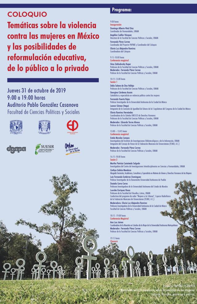 COLOQUIO - Temáticas sobre la violencia contra las mujeres en México y ls posibilidades de reformulación
